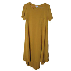 Lularoe Carly dress mustard yellow t-shirt small